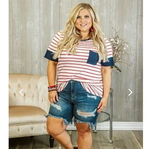 *New* 🇺🇸PLUS Red, White & Blue Striped Top 2X